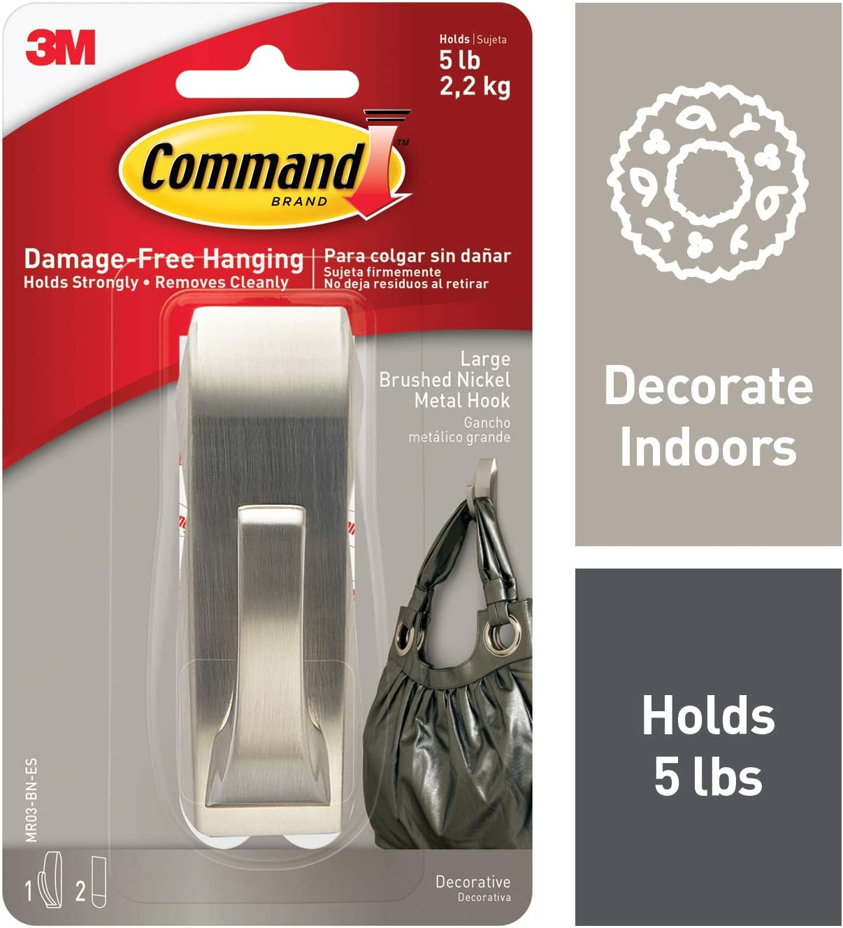 Command Metal Hook, Decorate Damage-Free, 1 hook, 2 strips, Silver (MR03-BN-ES)