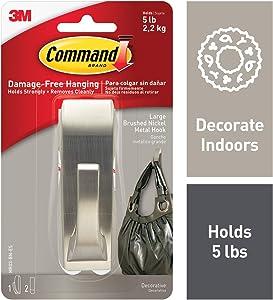 Command Metal Hook, Decorate Damage-Free, 1 hook, 2 strips, Silver (MR03-BN-ES)