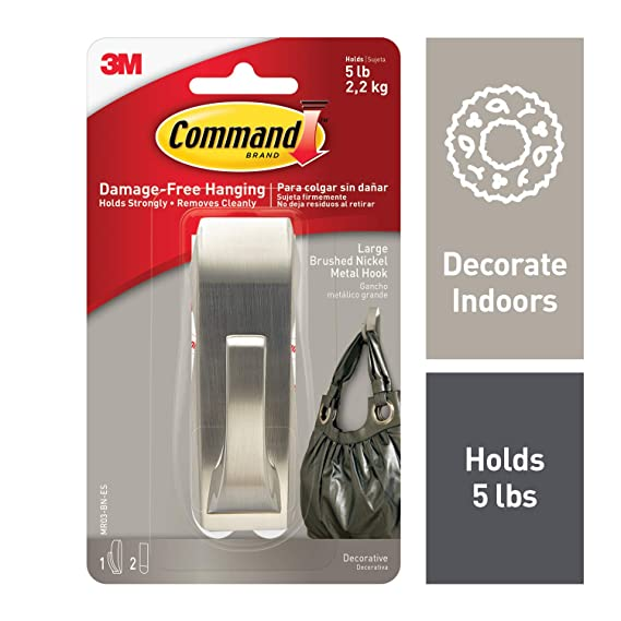 Command 5 Lb Capacity Metal Hook, Indoor Use, Decorate Damage Free, Silver (Mr03 Bn Es) by Command