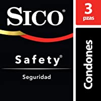 Condones de Látex, Sico Safety, Color Natural, Cartera con 3 piezas