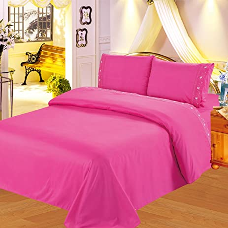 Gorgeous Home 4PC QUEEN HOT PINK BED SET SHEET EMBROIDERED Egyptian  MICROFIBER FLATE, FITTED,