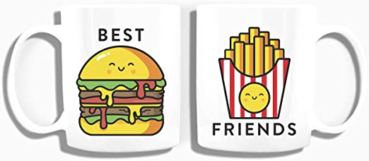 Amazon Com Burger Fries Best Friend Mugs Bff Ceramic Coffee Cups Long Distance Friends Gifts Kitchen Dining