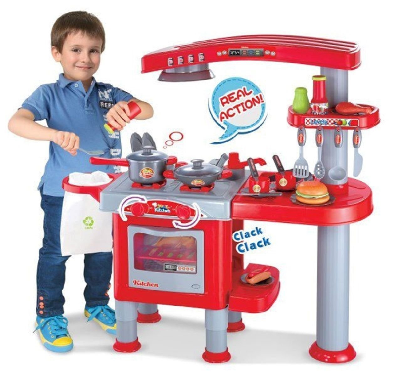 69PC LARGE CHILDRENS KIDS KITCHEN COOKING ROLE PLAY PRETEND TOY COOKER GAME SET Allkindathings
