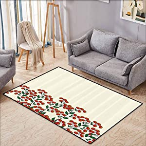 "Kids Rug,Nature,Red Clusterberries in Bush Leaves Garden Christmas Theme Image Print,Anti-Slip Doormat Footpad Machine Washable,4'7""x5'3"",Olive Green Red and Peach"