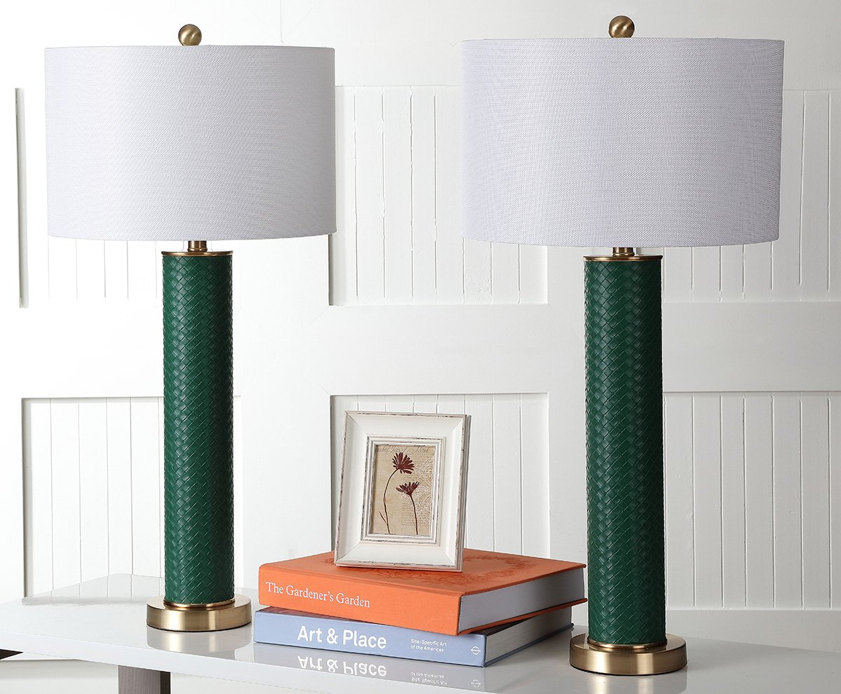 Safavieh Lighting Collection Ollie Dark Green Faux Woven Leather 31.5-inch Table Lamp Set of 2