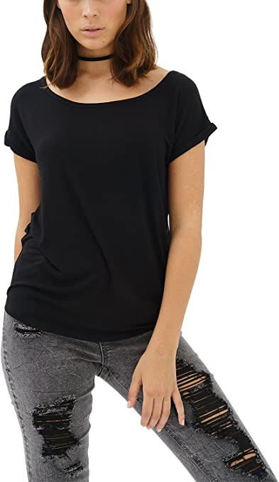 trueprodigy Casual Mujer Marca Camiseta Basico Ropa Retro Vintage Rock Vestir Moda Cuello Redondo Manga Corta Slim Fit Designer Fashion T-Shirt