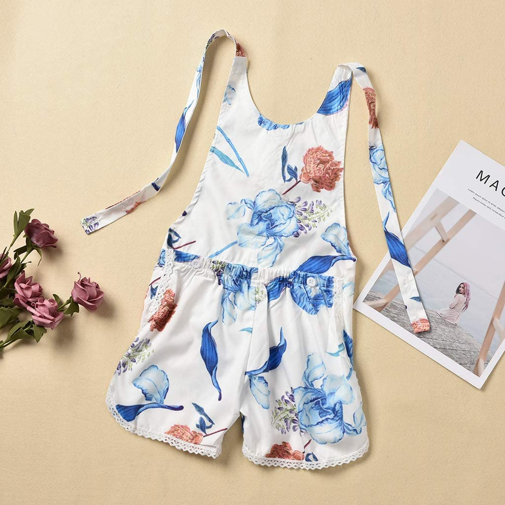 Toddler Baby Girls Overall Shorts Clothes Strap Floral Bodysuit Jumpsuit Onesie Outfit