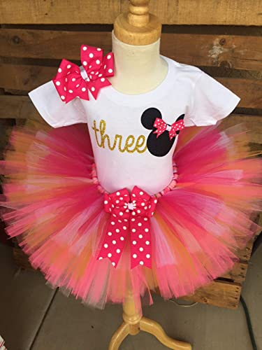 56438989a Image Unavailable. Image not available for. Color: Minnie Mouse Birthday  Tutu Outfit Set Dress Shirt First ...