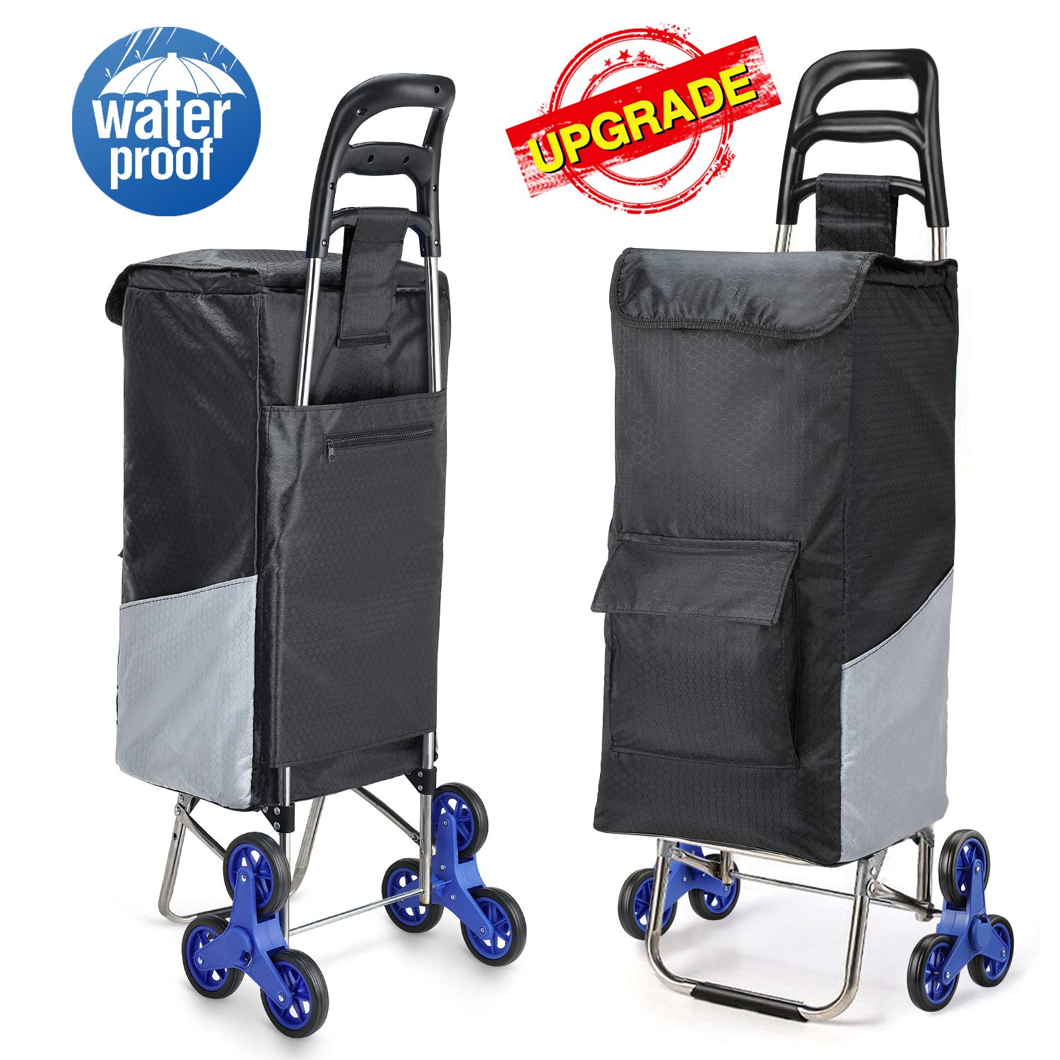 Lenbest Upgraded Tri-Wheels Shopping Cart, Grocery Cart with Stainless Steel Frame & Extended Long Handle Foldable Utility Cart with 6 Large Storage Waterproof Pockets No Tools Required Install by lenbest