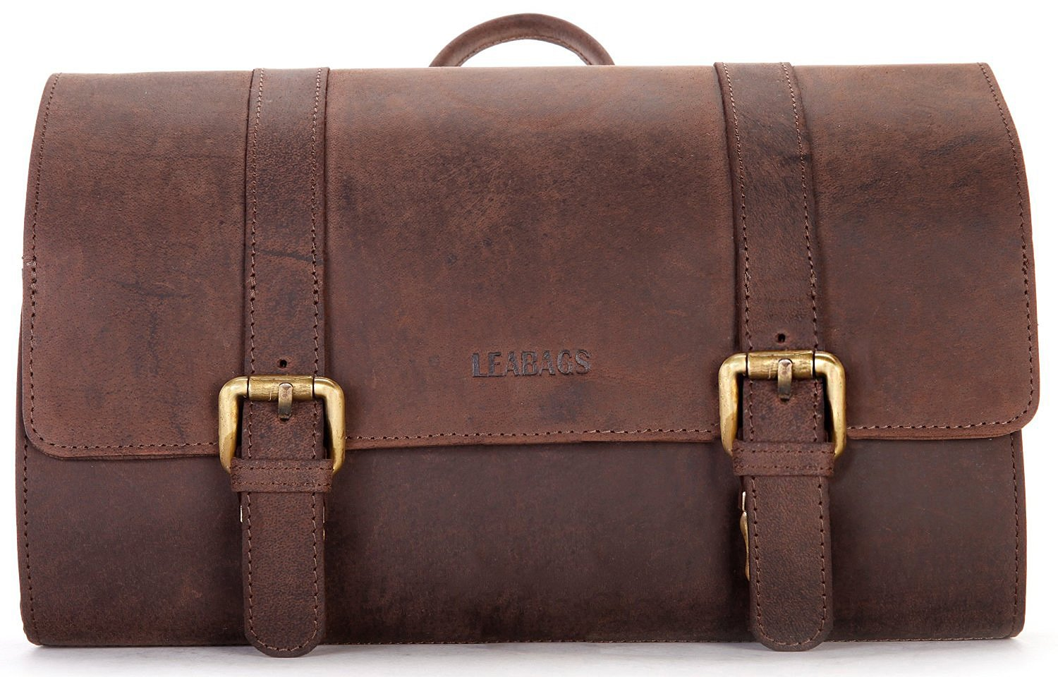 b7235e371a9 Amazon.com   LEABAGS Palm Mountain genuine buffalo leather toiletry bag in  vintage style - Nutmeg   Beauty