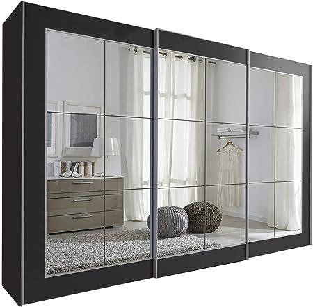 Schlafzimmer Lattice - Armario de puerta corredera con espejo, color negro, anchura de 202 cm, 236 cm o 301 cm, mueble de dormitorio alemán, madera, negro, 301cm Wide: Amazon.es: Hogar