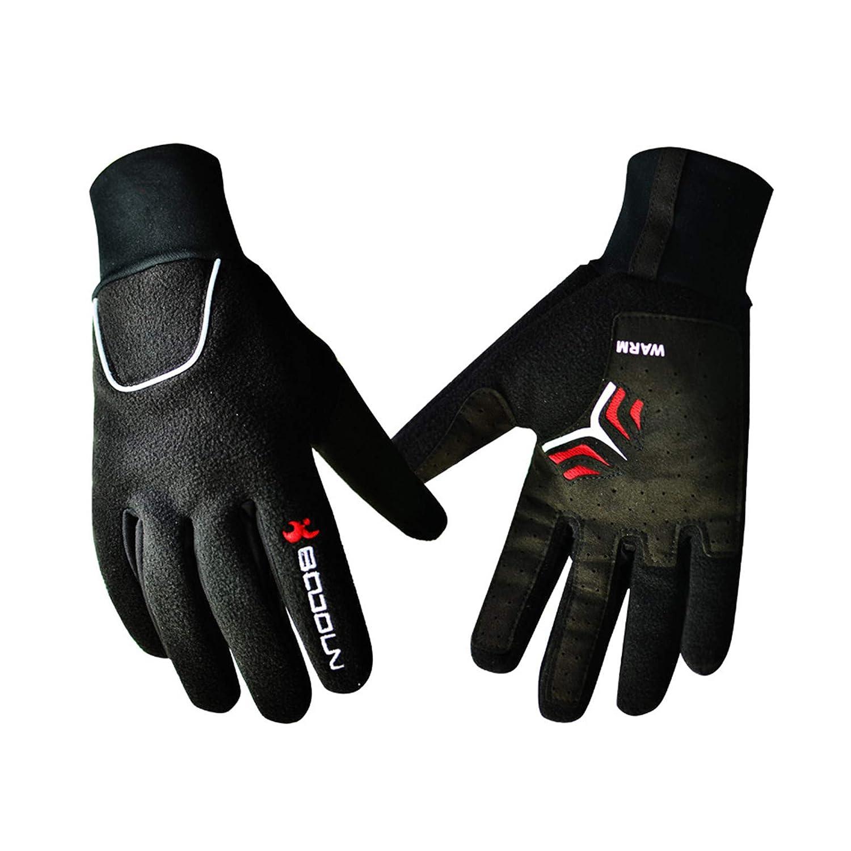 AmDxD Herren Winterhandschuhe Outdoor Fahrradhandschuhe Reithandschuhe mit Touchscreen Funktion Schwarz Handschuhe Größe Groß