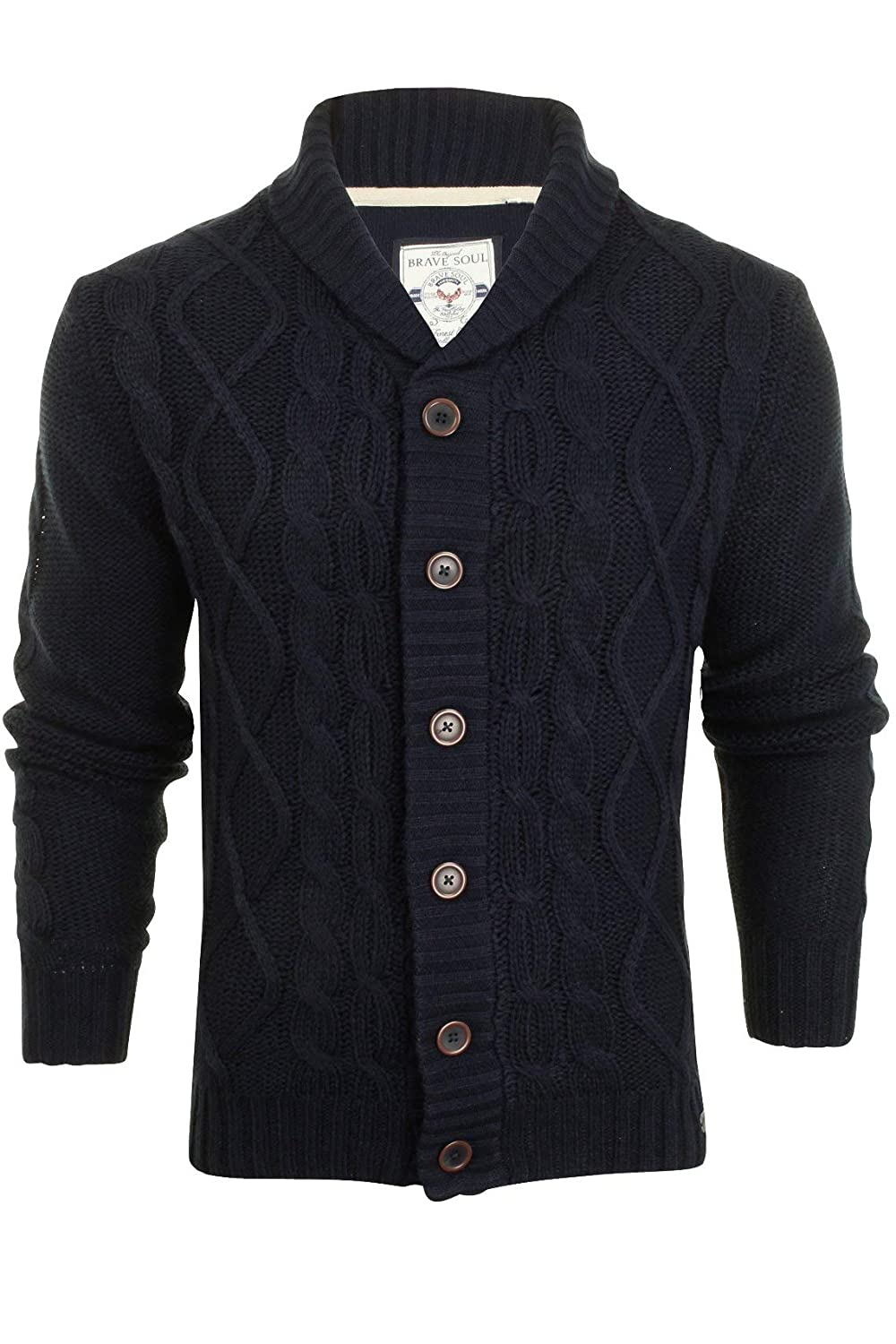 Brave Soul Mens Button-up Cardigan with Shawl Neck & Cable Knit