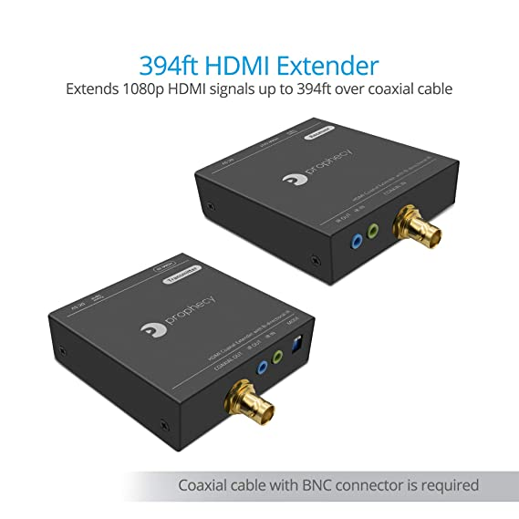 Amazon.com: gofanco Prophecy 1080p HDMI Extender Kit Over a Coaxial Cable – 120m (394ft) @1080p 60Hz HDMI Over Coax, Bi-Directional IR, EDID,6.75Gbps, ...