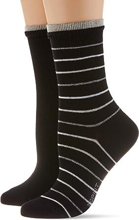 Esprit Socken Easy Stripe 2 Pack Baumwolle Größe 35 42 Damen Schwarz Grau Viele Weitere Farben Verstärkte Damensocken Mit Muster Atmungsaktiv Gestreift Unifarben Dünn Im Multipack 2 Paar Bekleidung