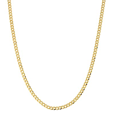 d9cf1cc01876a Kooljewelry Solid 10k Yellow Gold 3 mm High Polish Curb Link Chain Necklace