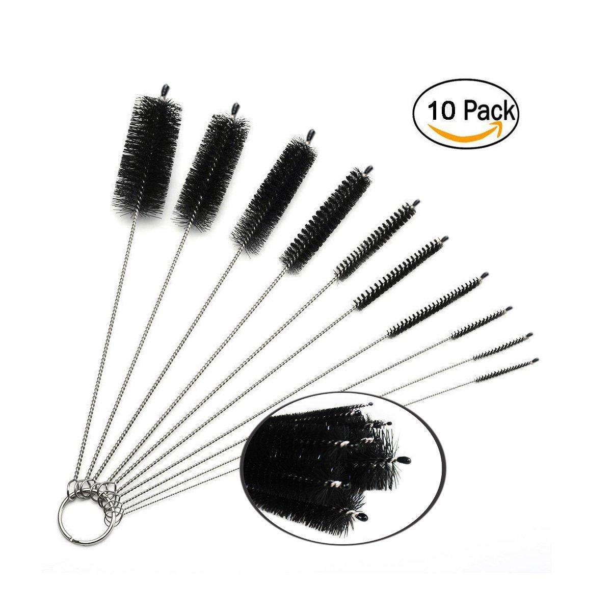 Boocy 10 PCS Nylon Pipe Brush Tube Brush Glasses Straw Cleaning Brush Set,Black