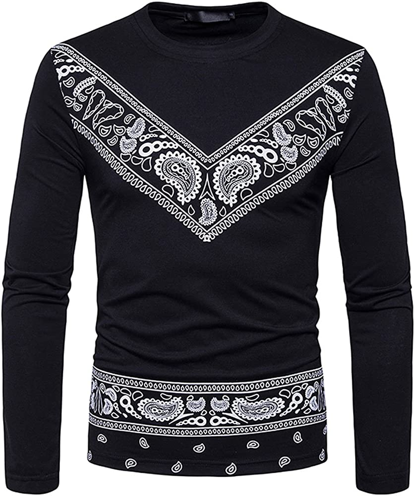 Pervobs Mens Fashion Long Sleeve Stand Collar Solid Comfortable T-Shirt Blouse Top