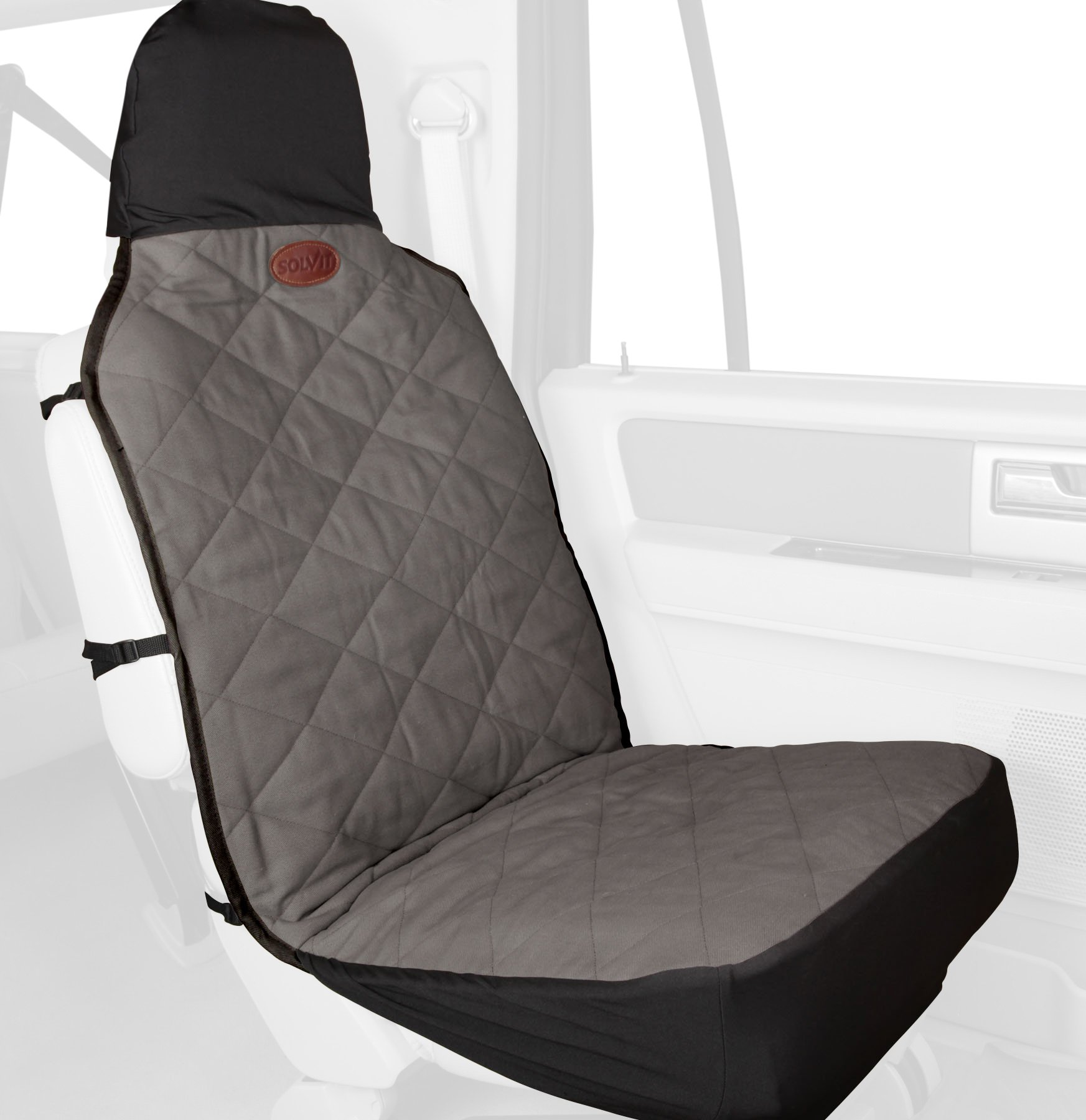 Solvit PetSafe Premium Bucket Pet Seat Cover, 52 in. L x 22 in. W, Gray, Waterproof Dog Car Seat Cover for Cars, Trucks and SUVs