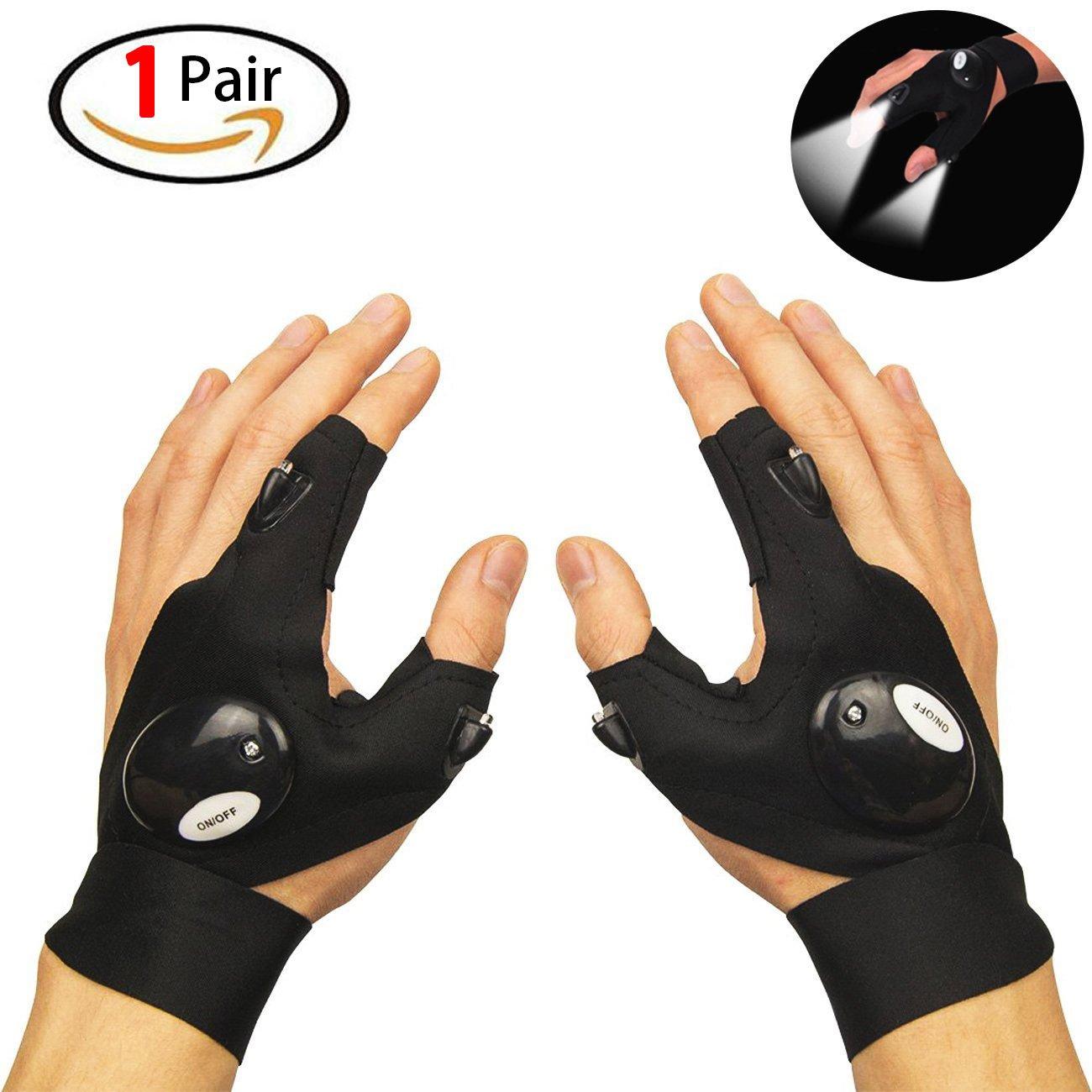Originalidad Gloves LED Light LED Lamp Cycling Gloves Flashlight LED Flashlight for Repairing/Working/Fishing/Camping, 1Pair
