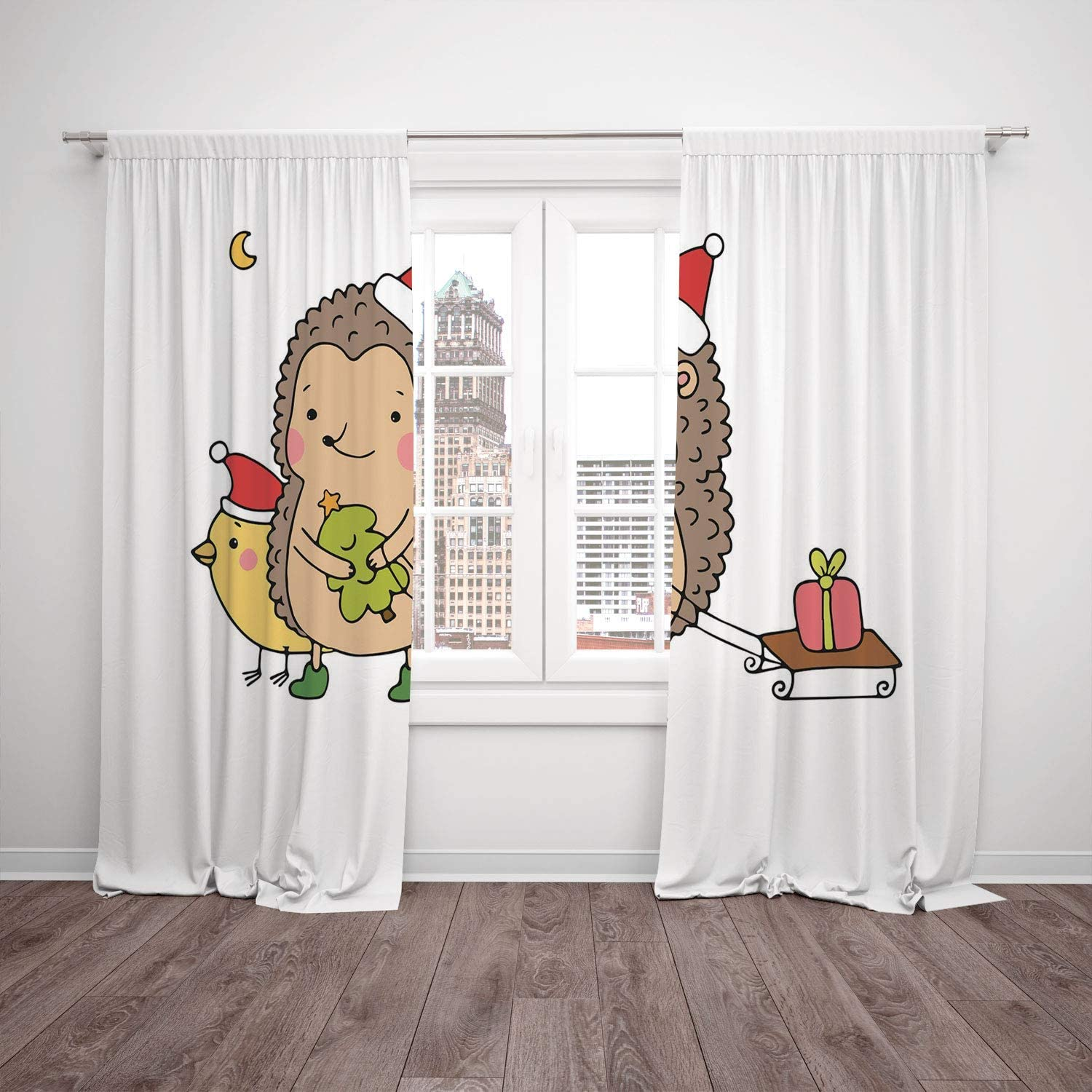 Polyester Window Drapes Kitchen Curtains Hedgehog Cartoon Hedgehog With Bird And A Christmas Tree Pulling Sled Holiday Themed Image Multicolor Living Room Bedroom Kitchen Cafe Window Drapes 2 Panel Se Amazon Co Uk Kitchen Home