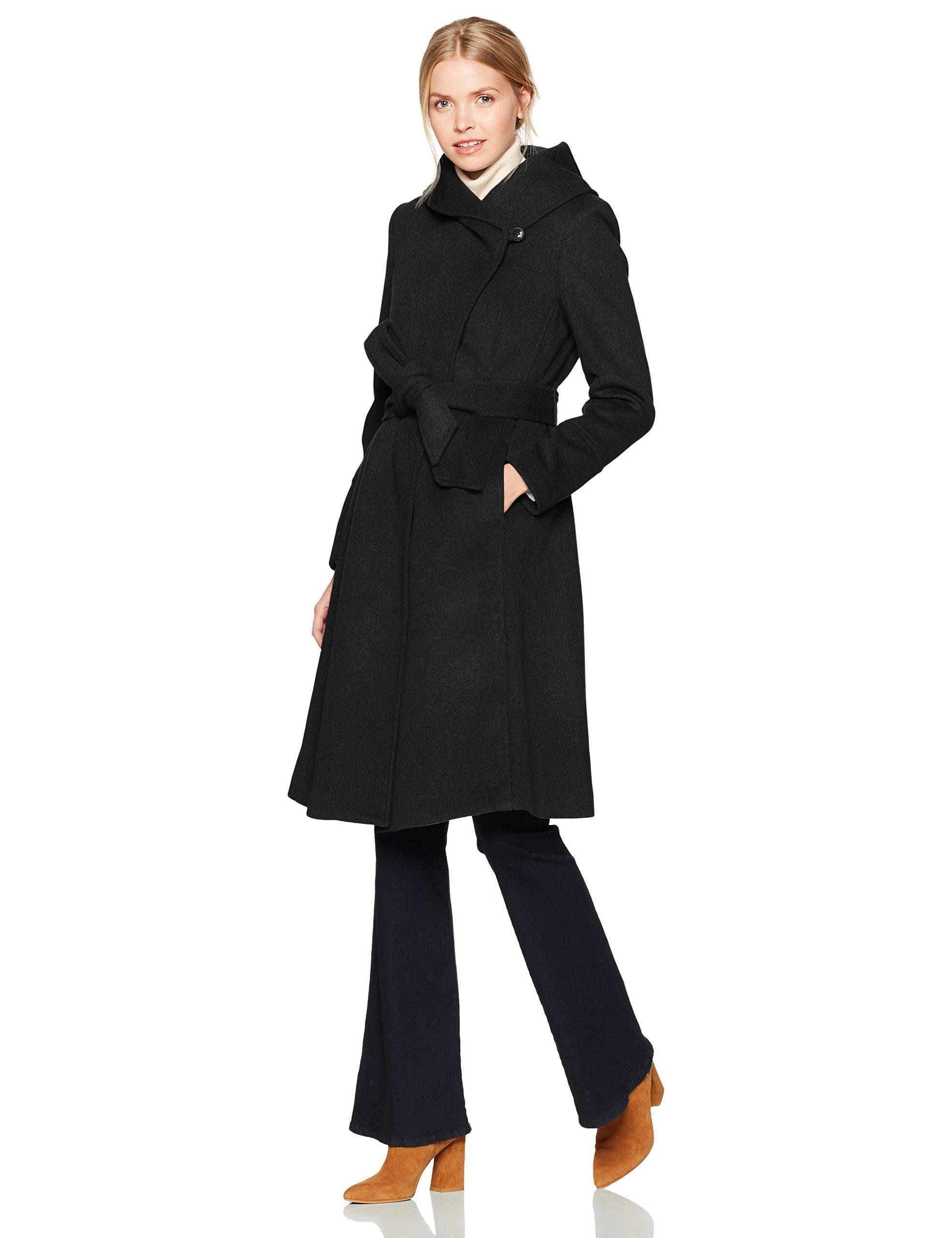 Cole Haan Women's Luxury Wool Asymmetrical Coat with Oversized Shawl Collar, Black, 4