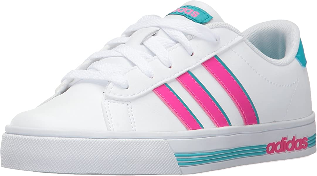 outlet store 05419 fb3ec Amazon.com   adidas Kids  Daily Team Sneaker, WHITE SHOCK PINK ENERGY BLUE, 5.5  Medium US Big Kid   Sneakers