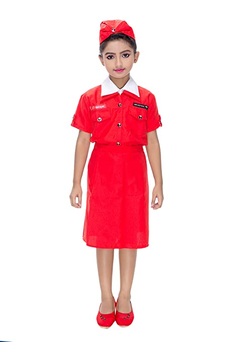 6808caed5d7 Smuktar garments Air Hostess Costume for Kids (1 to 11 Years) Red