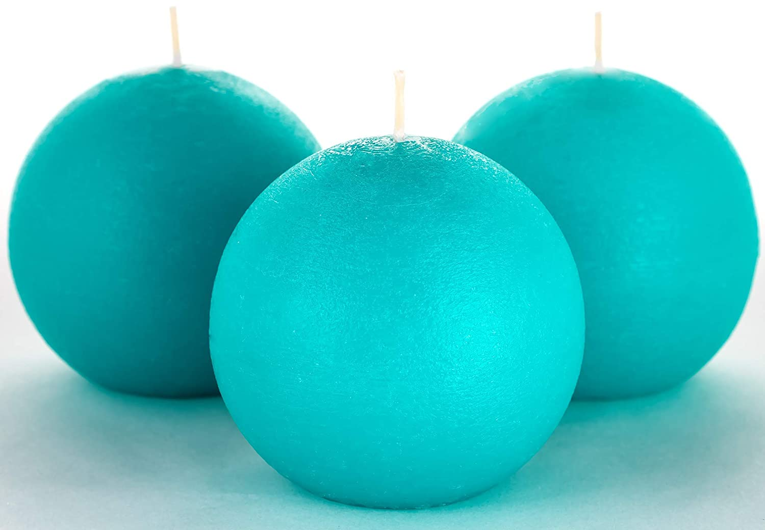 "Set of 3 Turquoise/Teal Sphere Ball Candles 3"" Unscented Handpoured for Weddings, Home Decoration, Church, Restaurant, Spa, Smokeless Cotton Wick"