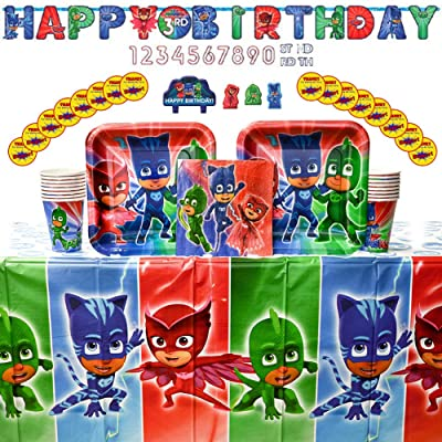 PJ Masks Birthday Party Supplies Pack for 16 Guests: Stickers, Dinner Plates, Luncheon Napkins, Cups, Table Cover, Candle Set, and Add an Age Birthday Banner: Toys & Games