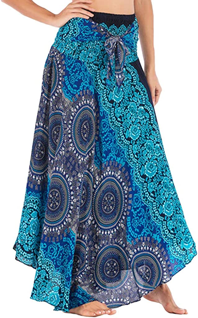 FAMILIZO Faldas Largas Y Elegantes Faldas Cortas Mujer Verano Faldas Mujer Invierno Primavera Vestidos Mujer Hippie Bohemia Gitana Boho Flores Elástico Cintura Floral Halter Falda