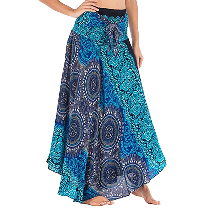 f17658b90cd Women Maxi Skirts Long Hippie Bohemian Gypsy Boho Flowers Elastic Waist  Floral Lace-Up Dress