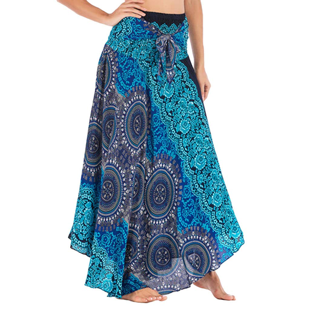 Tantisy ♣↭♣ Women's High-Waisted Boho Asymmetrical Hem Tie up Long Maxi Print Wrap Skirt Ladies Flowy Chiffon Beach Skirts