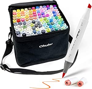120-Color Alcohol Art Markers Set, Ohuhu Dual Tip, Brush & Chisel, Sketch Marker, Alcohol-based Brush Markers Bonus 1 Blender for Sketching, Adult Coloring, and Illustration Markers -Honolulu Series