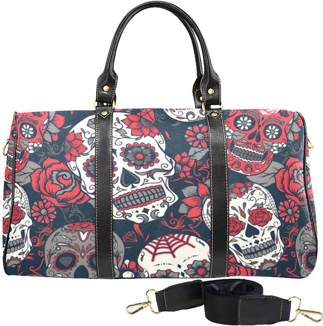 Skulls And Bones Halloween Travel Duffel Bag Waterproof Fashion Lightweight Large Capacity Portable Luggage Bag