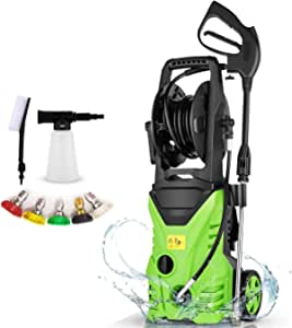 Power Washer Homdox Pressure Washer 2850PSI 1.7GPM Electric Pressure Washer 1800W High Power Washer Surface Cleaner Machine with Hose Reel & Detergent Tank & 5 Nozzles (Green)