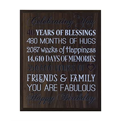 LifeSong Milestones 40th Birthday Gifts For Women Men Husband Wife Best Friend Gift Ideas 12 Inches