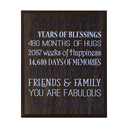40th Birthday Gifts For Women Men Husband Wife Best Friend Gift Ideas 12 Inches Wide X 15 High Wall Plaque By Dayspring Milestones Walnut