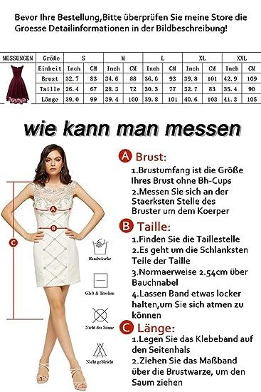 Promgirl House Damen Elegant Kurze Mini V-Neck Abendkleider Spitze ...