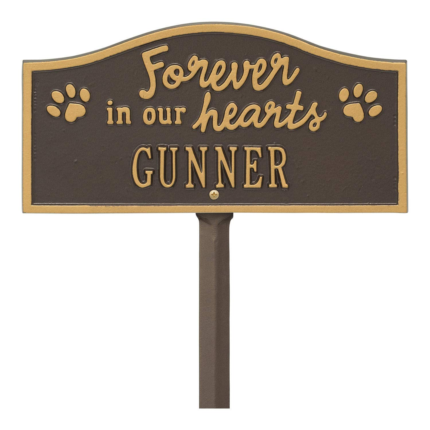 Whitehall Forever in Our Hearts Personalized Pet Memorial Yard Sign - Paw Print Remembrance Marker - Bronze/Gold