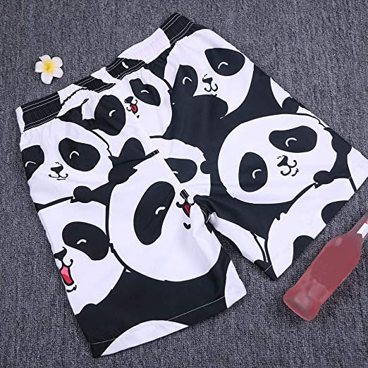 8f8a8aa927 Amazon.com: Men's Volley Board Shorts Cute Panda Print Ultra Quick Dry Mesh  Lining Swim Trunks Casual Shorts Bathing Suits: Clothing
