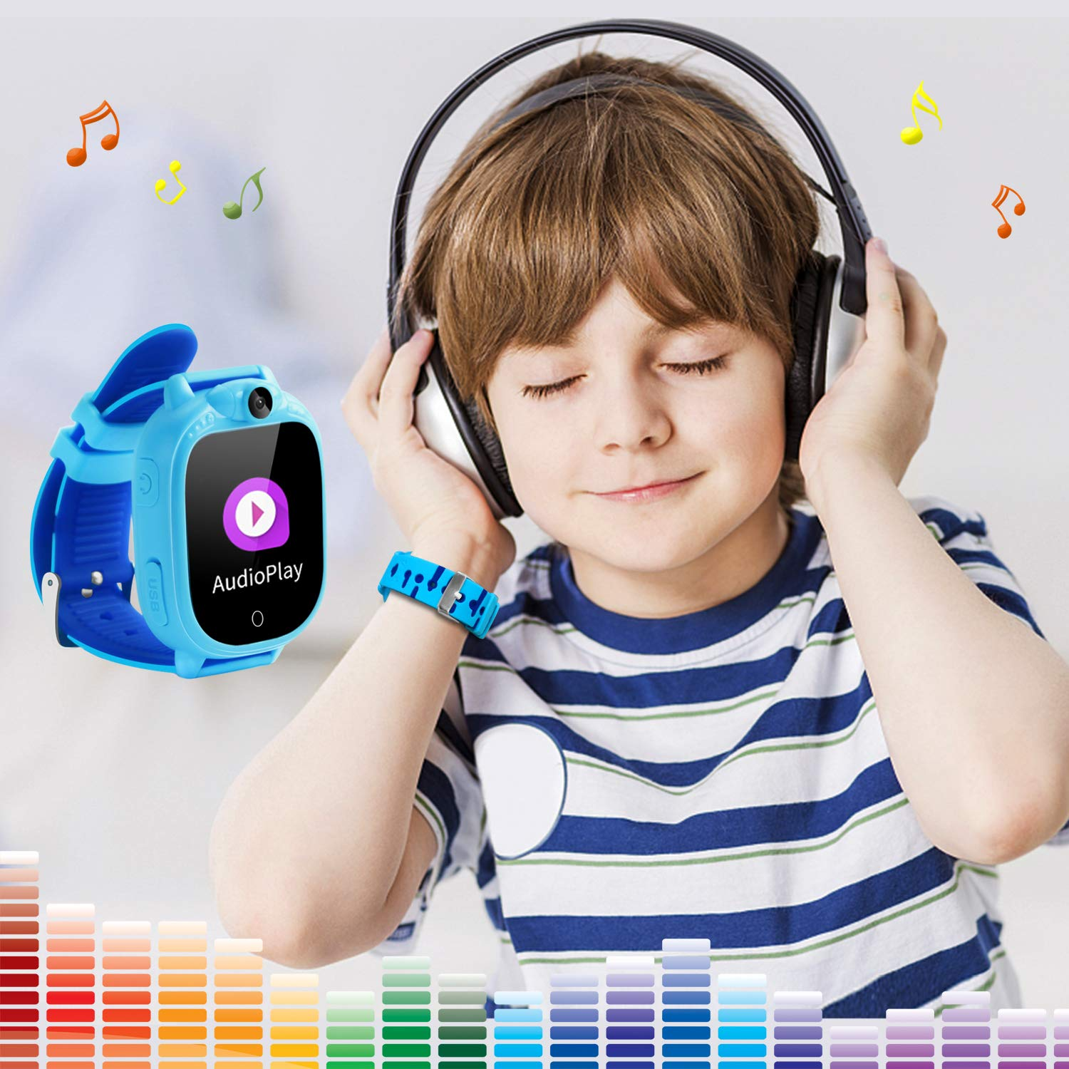 Kids Smart Game Watch with 90°Rotatable Camera Touch Screen Digital Wrist Watch Smartwatch for Boys Kids Electronic Learning Toys(Blue)