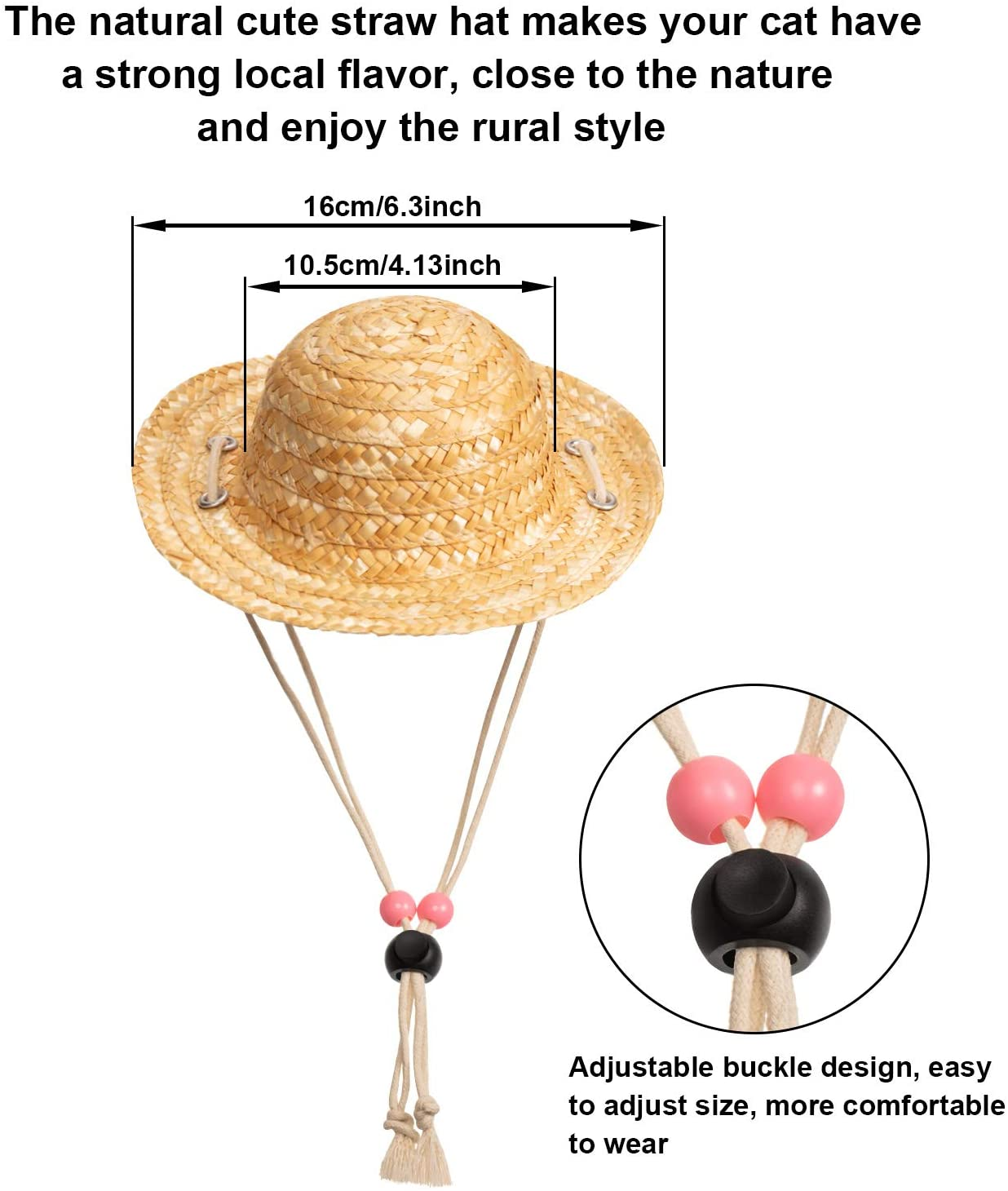 Pet Sunglasses and Summer Pet Straw Hat with Faux Gold Chain Collar 6 Pieces Pet Dog Cat Costume Classic Funny Pet Accessories for Pet Cat Puppy Small Medium Dog Birthday Cosplay Party Weekend