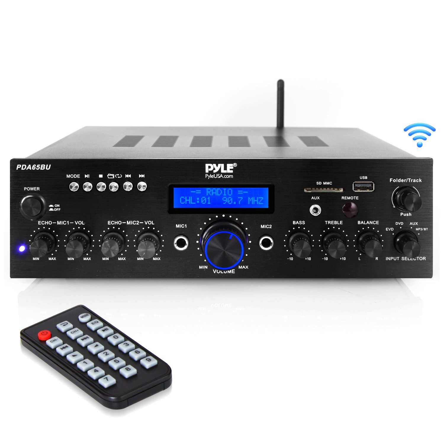 Wireless Bluetooth Power Amplifier System - 200W Dual Channel Sound Audio Stereo Receiver w/ USB, AUX, MIC in w/ Echo, Radio Home Theater Entertainment via RCA, Studio Use - Pyle PDA65BU Sound Around