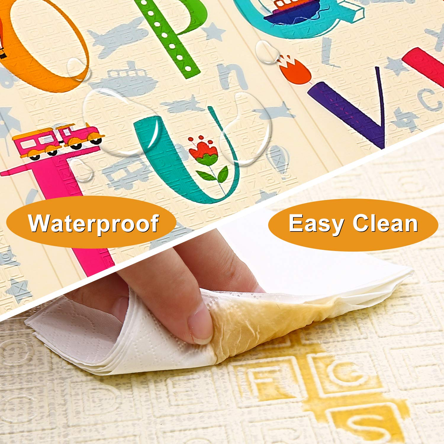 Baby Play Mat Extra Large Baby Mat Folding Foam Playmat Kids Crawling Mat Reversible Non Toxic Waterproof for Infants Toddlers Thicker 0.6inch Beige