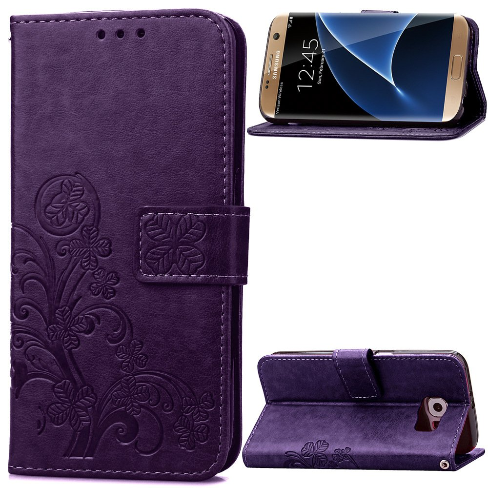 grey, galaxy s7 Samsung Galaxy S7 5.1inch Beautiful Case Fashion four-leaf clover Printing Premium PU Leather Wallet Case with Wrist Strap Flip Case Cover for Samsung Galaxy S7 Touch Screen And Stylus Pen