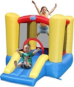 ACTION AIR Bounce House, Toddler Inflatable Bounce House with Blower for Indoor/Outdoor, Bouncy Castle with Durable Sewn and Extra Thick, Jump House with Slide for Kids 3-4 Years Old (9309Y)