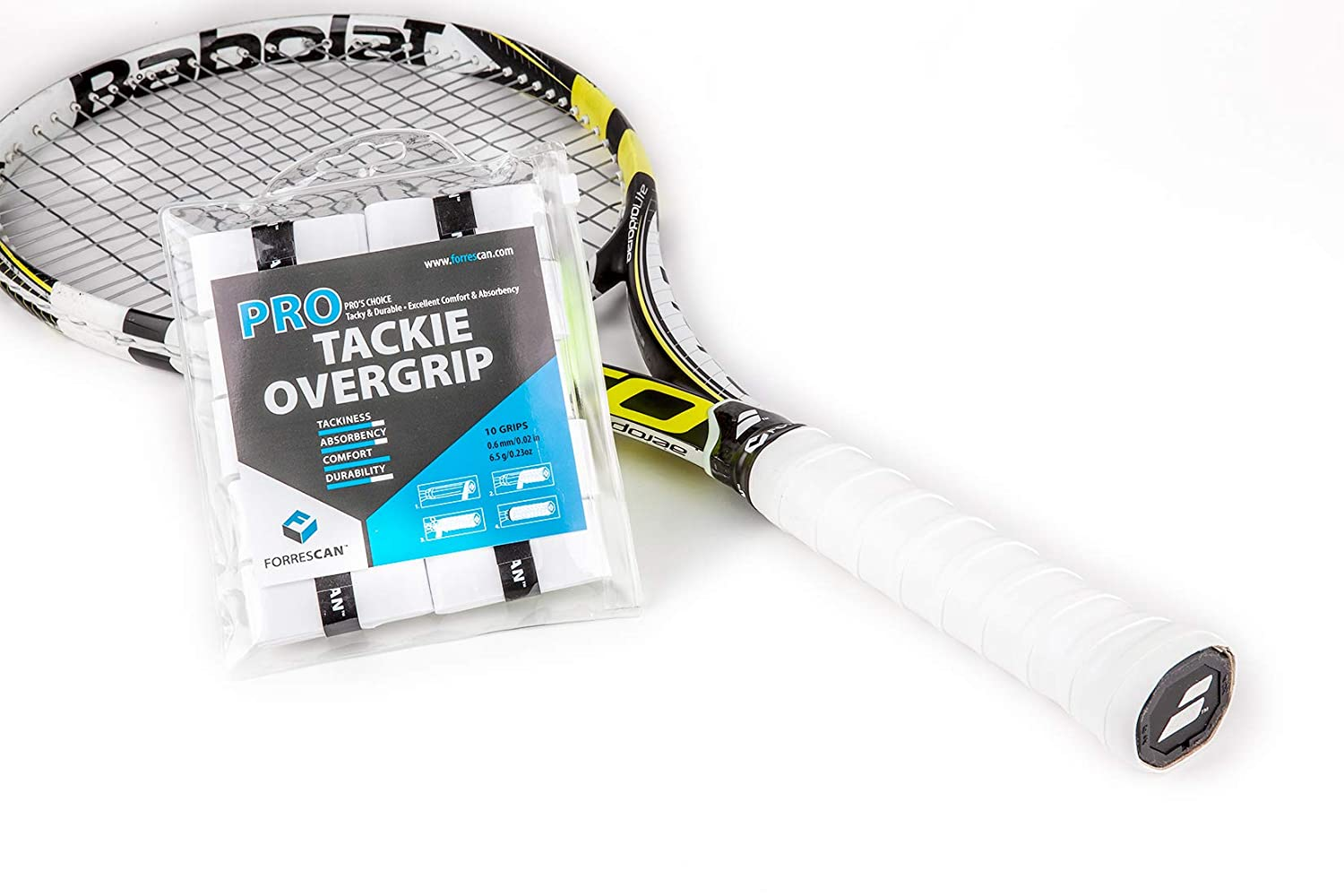 Amazon.com : ForresCAN Tennis Overgrip - Pro Tackie White - Tacky Anti-Slip Durable - Pack of 10 : Sports & Outdoors