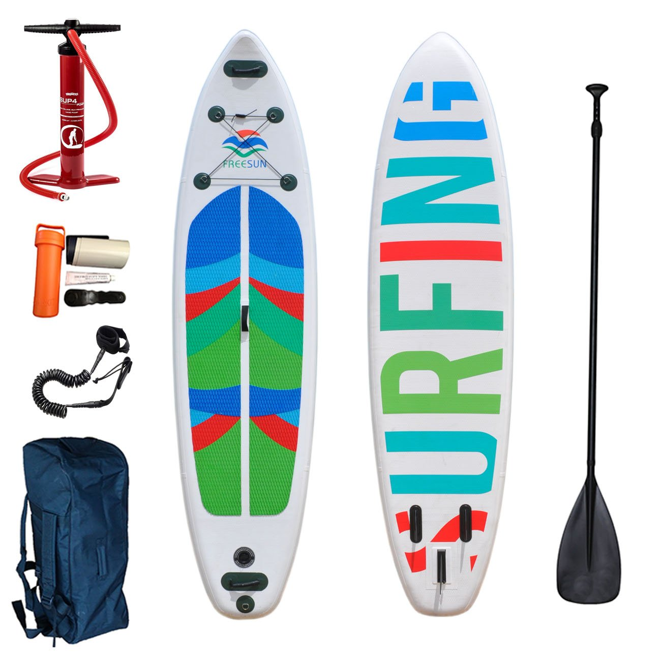 TERAISE 10' Inflatable Tour Stand Up Paddle Board(6''Thick) Isup Package︱Includes Adjustable Paddle,Travel Backpack,Pump,Coil Leash