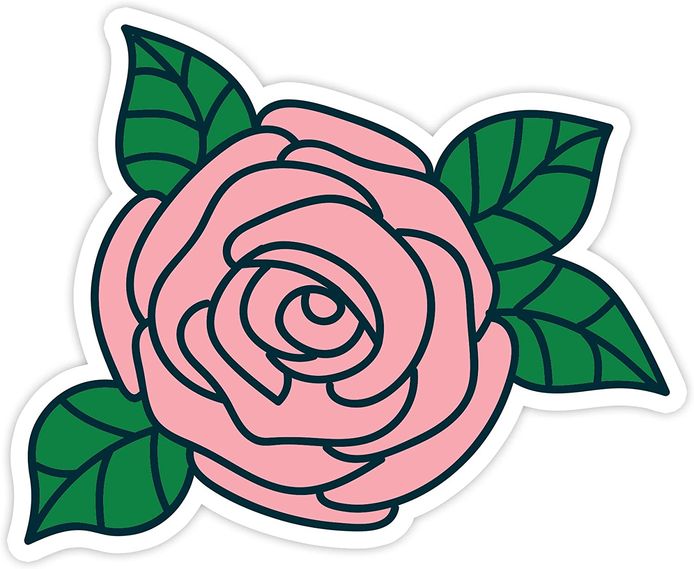 "Pink Rose - Vinyl Decal - Laptop, Decor, Window Vinyl Decal Sticker - (4"" Vinyl Decal)"